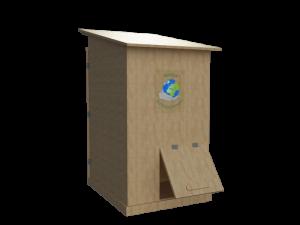 Toilette sèche en bois réalisé par Noeux Environnement vue arrière